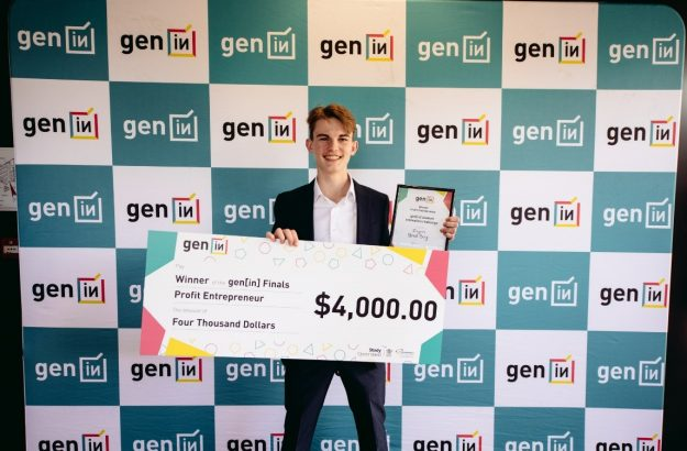 Flynn wins the 'Profit Entrepreneur Prize' of $4,000 at the gen[in] student innovation final for Bradboy.com.au an innovative cricket training kit to help young aspirational cricketers build up their skills.
